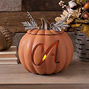 Orange Pre-Lit Monogram A Pumpkin