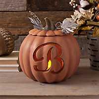 Orange Pre-Lit Monogram B Pumpkin