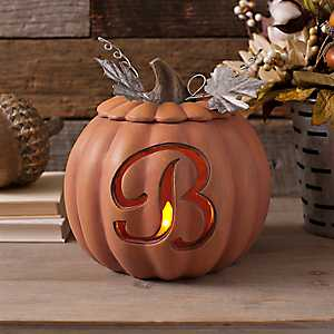 Orange Pre-Lit Monogram B Pumpkin