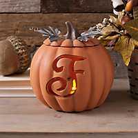 Orange Pre-Lit Monogram F Pumpkin