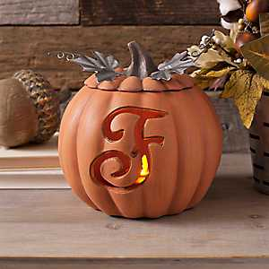 Orange Pre-Lit Monogram F Pumpkin