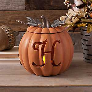 Orange Pre-Lit Monogram H Pumpkin