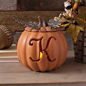 Orange Pre-Lit Monogram K Pumpkin