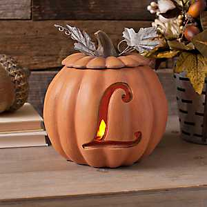 Orange Pre-Lit Monogram L Pumpkin