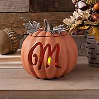 Orange Pre-Lit Monogram M Pumpkin