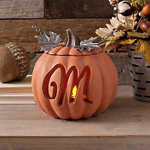 Orange Pre-Lit Monogram M Pumpkin