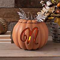 Orange Pre-Lit Monogram N Pumpkin