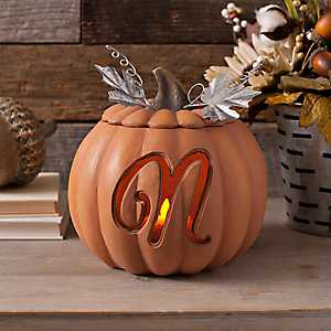 Orange Pre-Lit Monogram N Pumpkin