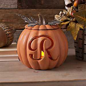 Orange Pre-Lit Monogram R Pumpkin