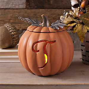 Orange Pre-Lit Monogram T Pumpkin
