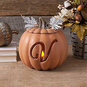 Orange Pre-Lit Monogram V Pumpkin