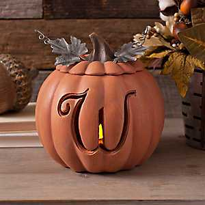Orange Pre-Lit Monogram W Pumpkin