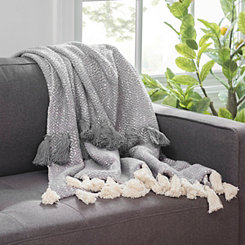 Gray Woven Tassel Throw