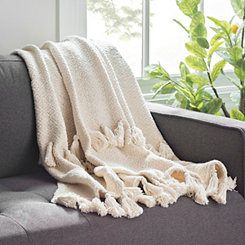 Ivory Woven Tassel Throw