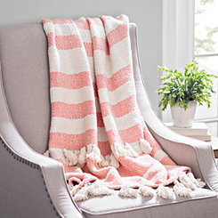 Coral Stripe Woven Tassel Throw