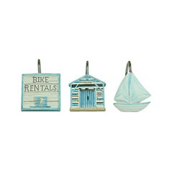 Beach Cruiser Shower Curtain Hooks, Set of 12