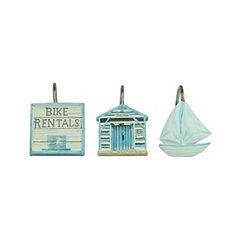 Beach Cruiser Shower Curtain Hooks, Set of 12