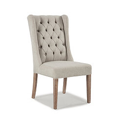 Natural Linen Tufted Wingback Dining Chair