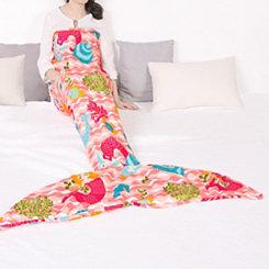 Pink Waves Mermaid Tail Sherpa Blanket