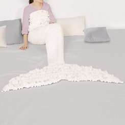 White Ruffle Mermaid Tail Sherpa Blanket