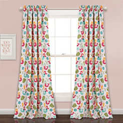 Mermaid Print Curtain Panel Set, 84 in.
