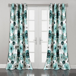 Blue Floral Curtain Panel Set, 84 in.