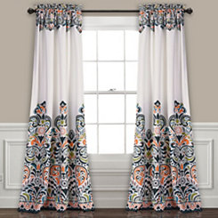 Clara Navy Curtain Panel Set, 84 in.