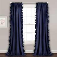 Reams Navy Ruffle Curtain Panel Set, 84 in.