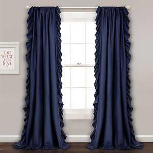 Reams Navy Ruffle Curtain Panel Set, 84 in.