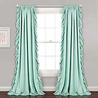 Reams Light Blue Ruffle Curtain Panel Set, 84 in.