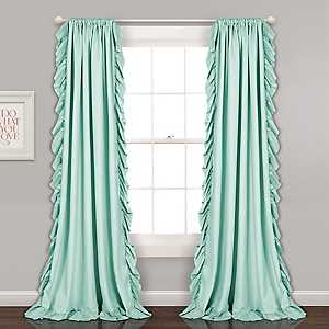 Reams Light Blue Ruffle Curtain Panel Set, 84 in.