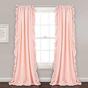 Reams Blush Pink Ruffle Curtain Panel Set, 84 in.