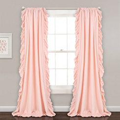 Reams Blush Pink Ruffle Curtain Panel Set, 84 in.