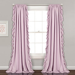 Reams Lilac Ruffle Curtain Panel Set, 84 in.
