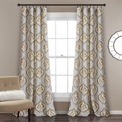 Hannah Yellow and Gray Curtain Panel Set, 84 in.