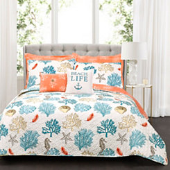 Coral Reef Feather 7-pc. Full/Queen Quilt Set