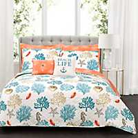 Coral Reef Feather 7-pc. King Quilt Set