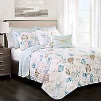 Taupe Sea Life 7-pc. Full/Queen Quilt Set
