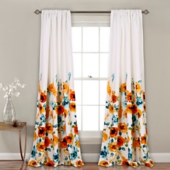 Tangerine Bloom Curtain Panel Set, 84 in.