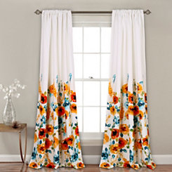 Tangerine Bloom Curtain Panel Set, 84 in.