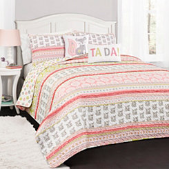 Fox Stripe 5-pc. Full/Queen Quilt Set