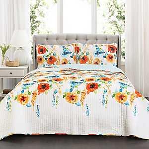 Tangerine Blooms 3-pc. Full/Queen Quilt Set
