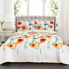 Tangerine Blooms 3-pc. Full/Queen Quilt Set