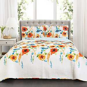 Tangerine Blooms 3-pc. King Quilt Set