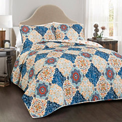 Brandy Blue 3-pc. Full/Queen Quilt Set