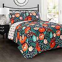 Poppy Garden Navy 3-pc. King Quilt Set