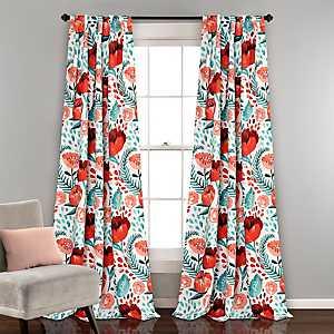 White Poppy Garden Curtain Panel Set, 84 in.