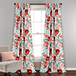 White Poppy Garden Curtain Panel Set, 84 in.