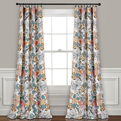 White Floral Synthia Curtain Panel Set, 84 in.