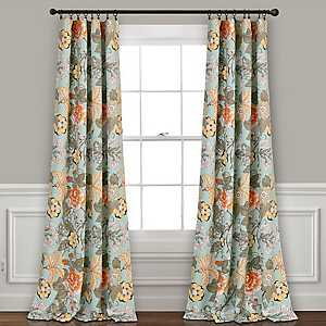 Teal Floral Synthia Curtain Panel Set, 84 in.